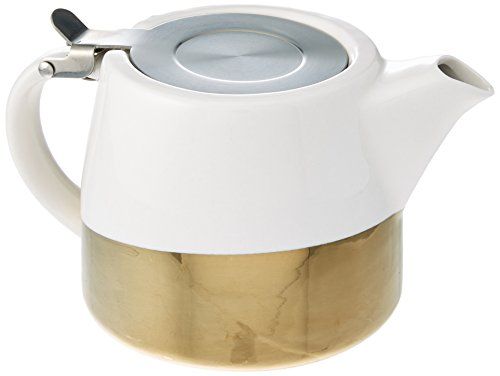 Pinky Up 5070 5070.0 Harper Gold Dipped Ceramic Teapot & Infuser 1 EA White & Gold