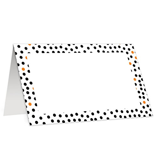 Halloween Place Cards (50 Pack) Black Orange Dots Modern Blank Party Event Autumn Fall Parties School Corporate 3.5 x 2