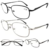 Eyekepper Metal Frame Spring Hinged Arms Reading Glasses Pack of 4 Pairs(1 Pair of per Color) +4.0
