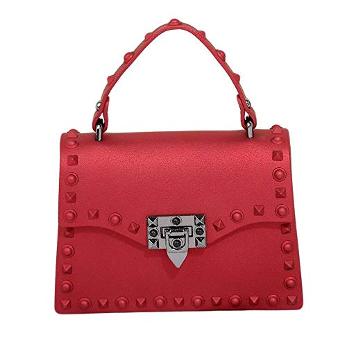 (Tansparent Jelly Messenger Bag Silicone Jelly Clutch Handbag Quilted Crossbody Bag with Chain (Red))