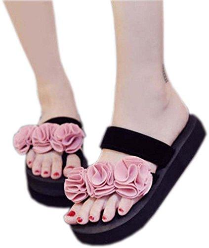 Bettyhome Kvinner Dame Jenter Sexy Böhmen Blomster Thongs Komfortabel Uformelle Wedges Sandaler Stranden Flip Flops Tøfler Rosa