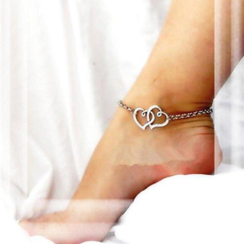 Hemlock Women Girl Double Chain Anklet Bracelet Ankle Chain (Love) ()