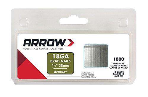 Arrow Fastener Co Inc BN1824CS Genuine 1-1/2-Inch 38mm Brad Nails, 1,000-Pack