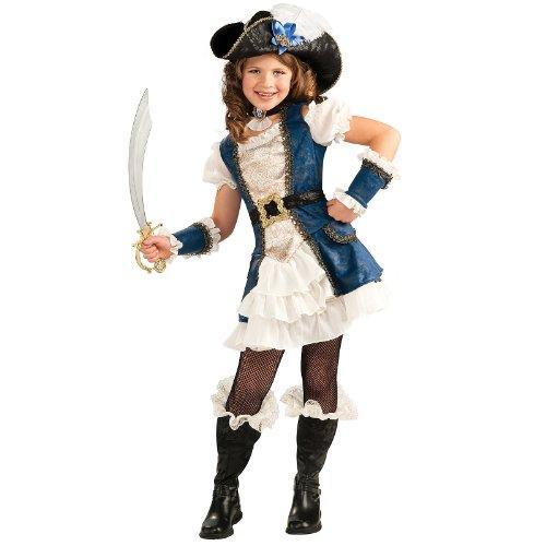 Blue Pirate Girl Child Costume, Large (Pirate Costume Kid Girl)