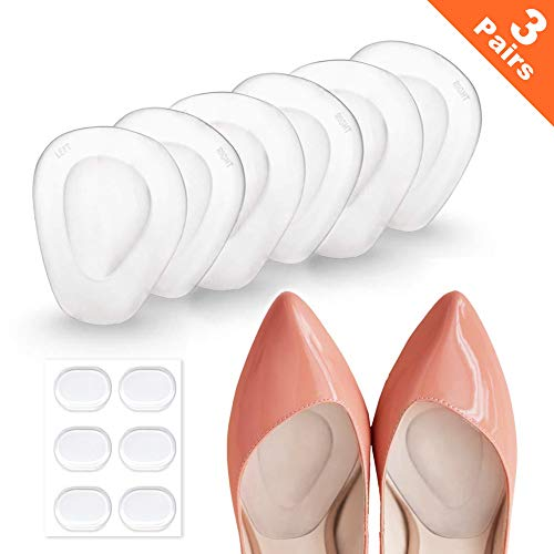 3 Pairs Ball of Foot Cushions Adhere to Shoes for Neuroma, Metatarsal Pads with Water Drop Shape 4D Design, Professional Reusable Soft Gel Insole, All Day Metatarsal Pain Relief and Comfort