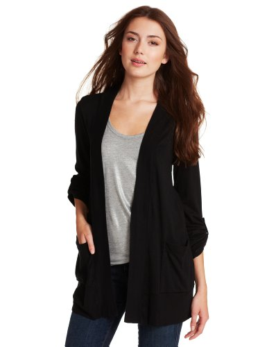 83ce77055a Splendid Women s 1x1 Ribbed Tab Sleeve Cardi Wrap Black Sweater XL (Women s  14-16)  Amazon.in  Clothing   Accessories