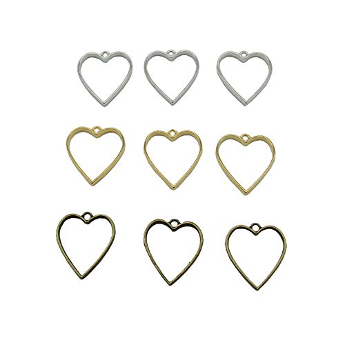 18 Pcs 3 Color Heart Open Back Bezel Pendant with 1 Loop for Resin for Jewelry Making (Silver&Gold&Bronze) - Heart Frame Pendant