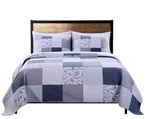SLPR Coastal Dream 3-Piece Real Patchwork Cotton Quilt Set (Queen)   with 2 Shams Pre-Washed Reversible Machine Washable Lightweight Bedspread Coverlet -