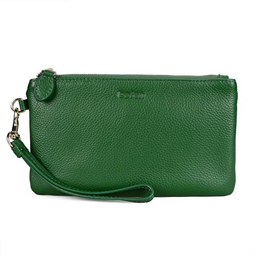 Befen Women's Leather Clutch Wristlet Wallet Wristlet Phone Purse with Card Slots - Fit iPhone 8 Plus - Forest Green