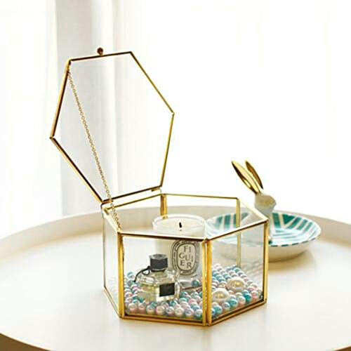 m·kvfa Nordic Hexagonal Geometric Transparent Glass Flower Room Jewelry Storage Box Flower Room Copper Edge Open Cover Eternal Flower Glass Gift Box Tray Case Glass Jewelry Ring Display Organizer