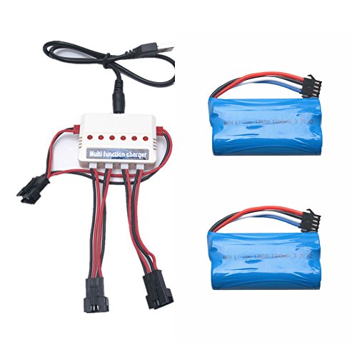 Reikirc 2pcs 7.4v 1500mah battery and 1to3 charger for UDI UDI002 UDI007 UDI902 Venom Remote Control Boat Spare Parts ()