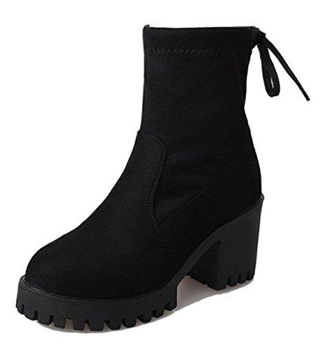 Ein bißchen 2018 Damen Fashion Runde Leder Boot Elegant Mode Stiefeletten Schwarz-A