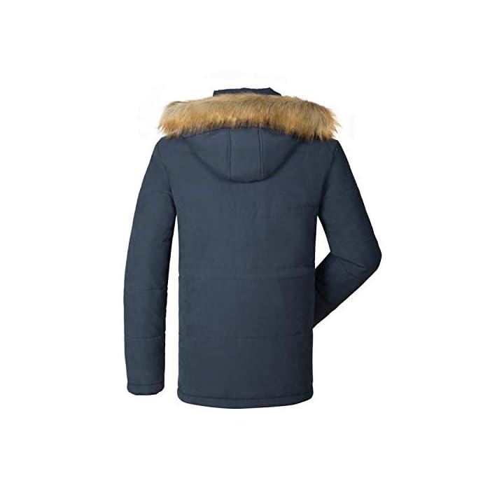41HC8TnvZ5L Esta chaqueta cálida está hecha de tela suave y tiene puños acanalados para un ajuste cómodo alrededor de la muñeca, contra el viento frío. Chaqueta parka con capucha hombre,Forro de lana y capucha desmontable. Material: 95% Poliéster + 5% Nylon