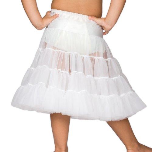I.C. Collections Little Girls White Bouffant Half Slip Petticoat Tea Length, 6