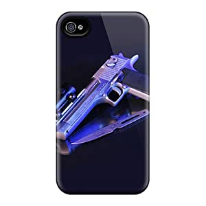 Shock Absorption Cell-phone Hard Cover For Apple Iphone 4/4s With Allow Personal Design High-definition Gun Skin WandaDicks