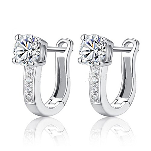 YiYi Operation U-shaped 925 Sterling Silver Huggie Hoop Earrings Simulated Birthstones Secure (Diamond Shaped Hoop)