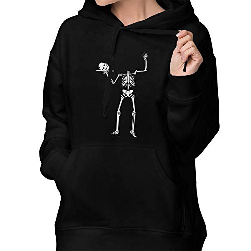 (RS-pthrA2 Women's Pullover Hoodie Halloween Skeleton Pullover Hooded with Pocket)