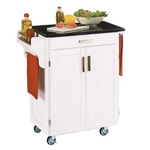 Cuisine Kitchen Cart White/Black Granite
