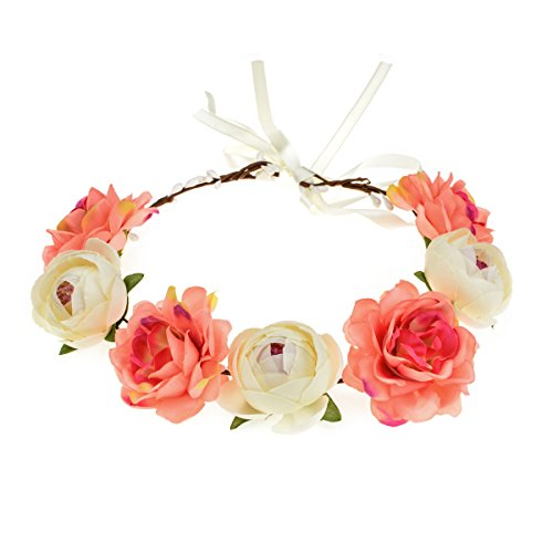 June Bloomy Women Rose Floral Crown Hair Wreath Leave Flower Headband with Adjustable Ribbon (Ivory Coral)