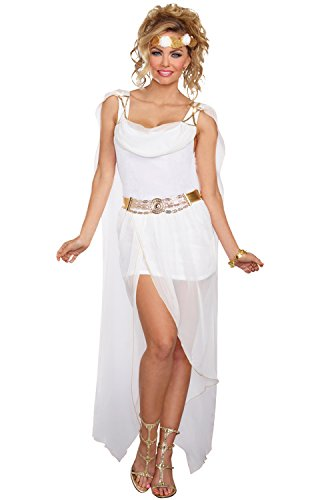 Dreamgirl Women's It's Greek To Me Costume, White/Gold, Small