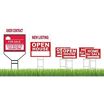 Amazon.com: Red Superior Open House & Home For Sale 8 Sign Bundle ...