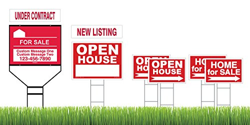 Red Superior Open House & Home For Sale 8 Sign Bundle with Frame & H-Stakes - Customized Aluminum Sign for Wishbone Frame – 2 Interchangeable Riders - Directional Arrows - Double Sided Lawn Signs by Sam's Signs