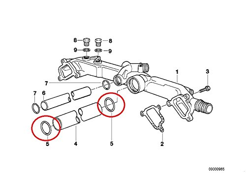BMW 11 53 1 710 048, Engine Coolant Pipe O-Ring