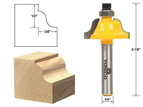 - Yonico 13182q Roman Ogee Edging and Molding Router Bit with Small 1/4