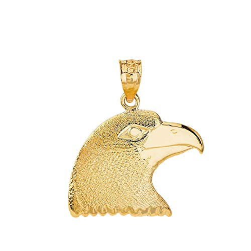 Certified 10k Yellow Gold American Eagle Head One Sided Charm Pendant