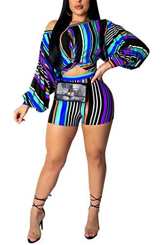 Striped Puff Sleeve Top - Womens Summer 2pcs Off Shoulder Puff Sleeve Striped Printing Wrap Crop Tank Top Shirt Hot Pants Set Club Shorts Boho Maxi Party Club Beach Dress Blue XXL