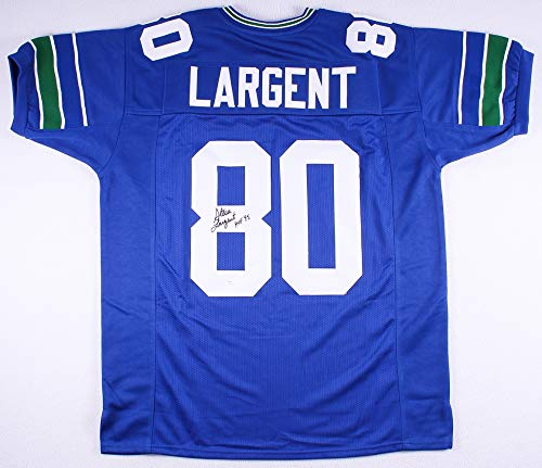 Largent Steve Signed Hand (Steve Largent Autographed Blue Seattle Seahawks Jersey - Hand Signed By Steve Largent and Certified Authentic by JSA - Includes Certificate of Authenticity - Inscribed HOF 95)