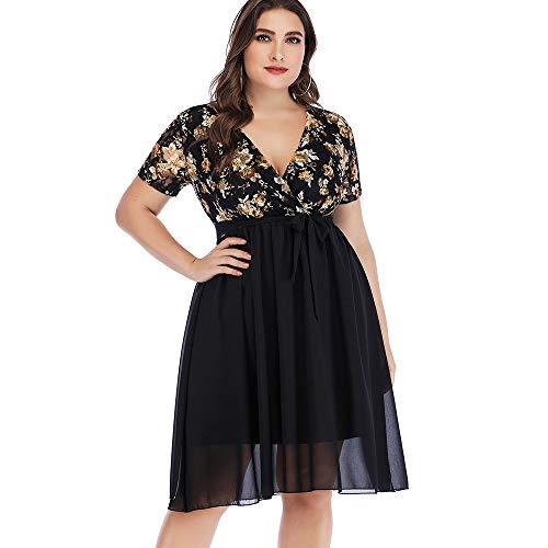 ZEZCLO Women's Plus Size V-Neck Lace Insert Chiffon Double Layer Surplice Dress Black 2XL (Black Lace Chiffon Dress)