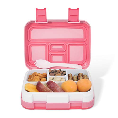 - Kids Lunch Box - Leakproof 5-Compartment Bento Box for Kids and Toddler, Travel and On-the-go Meal and Snack Packing Food Storage Container, Lunch Box for boys and Girls (Pink)