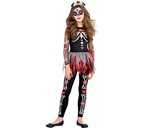 Amscan Scared to The Bone Halloween Costume for Girls, Medium, with Included Accessories