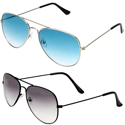 da725a09ce6 SHEOMY COMBO OF STYLISH SILVER BLUE AVIATOR GOGGLES AND BLACK WHITE AVIATOR  SUNGLASSES WITH 2 BOX Best Online Gifts  Amazon.in  Clothing   Accessories