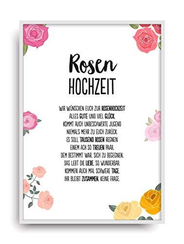 Hochzeit Karte Rosenhochzeit Kunstdruck 10 Hochzeitstag Rosen Brautpaar Bild Ohne Rahmen Din A4
