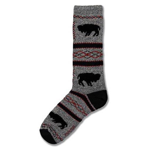 For Bare Feet Women's FBF Originals Wildlife Novelty Socks, Buffalo Standing, Medium