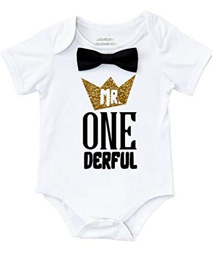 Noah's Boytique Mr Onederful First Birthday Shirt Outfit Boy with Black Bow Tie and Gold and Black Saying Cake Smash 1st Birthday Party 12-18 Months -