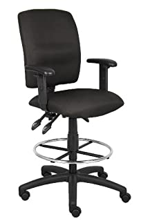 Boss Office Products B1636-BK Multi-Function Fabric Drafting Stool with Adjustable Arms in Black (B0030ZG204)   Amazon price tracker / tracking, Amazon price history charts, Amazon price watches, Amazon price drop alerts