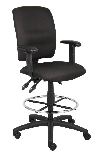Boss Office Products B1636-BK Multi-Function Fabric Drafting Stool with Adjustable Arms in ()