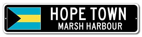 Bahamas Flag Sign - HOPE TOWN, MARSH HARBOUR - Bahamian Custom Flag Sign - 9