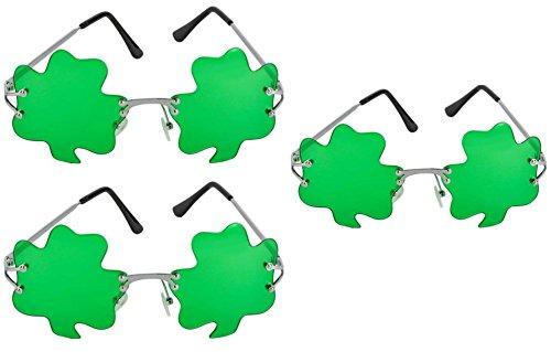 ST. Patricks Day Green Shamrock Irish Clover Metal Frame Sunglasses - 3 - Day Sunglasses