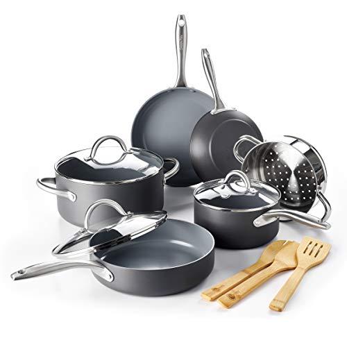 GreenPan Lima Healthy Ceramic Nonstick, Cookware Pots and Pans Set, 12 Piece, Gray