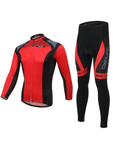 iCreat Herbest winter Rad-Trikots lange Ärmeln Anzug Radbekleidung mit Fahrradhose Damen / Herren COOLMAX Silikonmatte / mit Professionelle Vliestasche