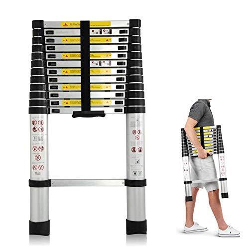Telescoping Ladder 12.5ft Aluminum Telescopic Extension Multi Purpose Steps Non-Slip 330 lbs Capacity for Indoor Outdoor Work ()