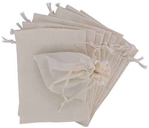 KUPOO 50PS Cotton Bags Cotton Muslin Bags Drawstring Muslin Bag for Wedding Party Favor and DIY Craft (4 x 5.8 Inch)