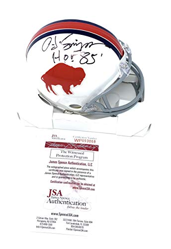 OJ Simpson Buffalo Bills Signed Autograph Throwback Mini Helmet HOF Inscribed JSA Witnessed Certified