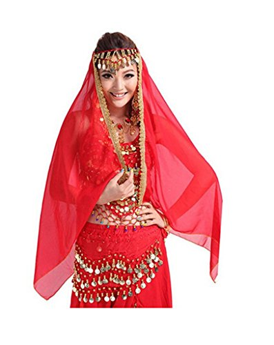 [Belly Dancing Veil Viva Rose® Chiffon Shawl Skirt Scarf Gypsy Gold Trim Headscarf (Red)] (Gypsy Costume Head Scarf)