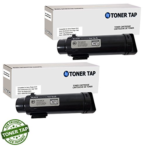 Toner Tap for Xerox Phaser 6510, WorkCentre 6515 Color Printers (2 Pack, Black) - High Yield Compatible Toner Cartridge (OEM Part# -