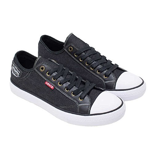 Levi's Mens Black Denim Slip On Sneakers/ Tennis/ Shoe w Comfort Tech for Everyday Wear - Assorted Sizes and Colors (8.5)